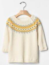 GAP Baby Toddler Girls 12-18 Months Ivory Yellow Silver Fair Isle Sweater Dress