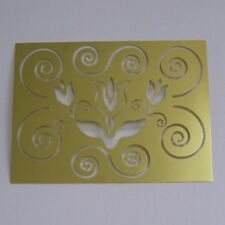 Brass Craft Stencil Crafting Card Making Tulip & Scrolls Design 80 x 60mm