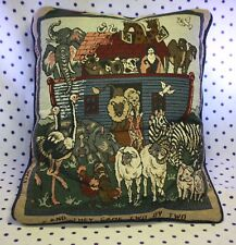 And They Came Two By Two Throw Pillow Tapestry Noah's Ark Animals Bible Couch