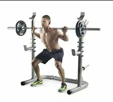 Weider XRS 20 Olympic Squat Rack and Weight Storage Adjustable Uprights Spotters