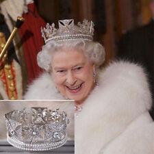 Wedding Bridal Crystal Pearl Queen Crown Tiara Headband Hair Accessories Jewelry
