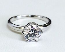 14K Solid White Gold Round Cubic Zirconia Solitaire Engagement Ring, 7mm  Sz 6.5