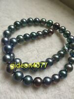"""36""""AAA+ 9-10mm REAL natural Tahitian black green round pearl necklace 14k gold"""