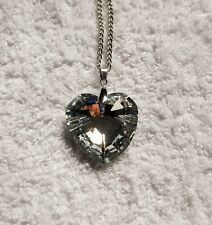 SILVER CRYSTAL HEART Longer Length NECKLACE 30Inch Valentine
