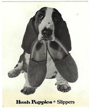 Vtg HUSH PUPPIES Slippers ADVERTISING Card BASSETT Hound CASUAL SHOES DOG Ad