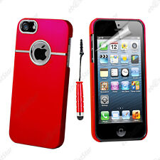 Housse Coque Rigide Silver-Line chromé Rouge Apple iPhone SE 5S 5 + Mini Stylet