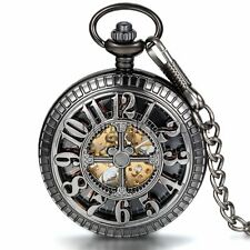 Vintage Hollow Hand-winding Mechanical Skeleton Half-hunter Cross Pocket Watch