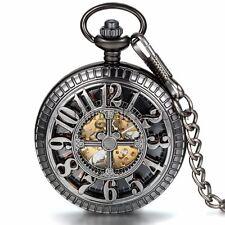 Vintage Hollow Hand-winding Mechanical Skeleton Half-hunter Cross Pocket Watch