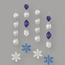 FROZEN CHRISTMAS PARTY SNOWFLAKE 4 PCS FOIL HANGING DECORATIONS SWIRL SWIRLING