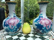 """More details for 9"""" pair chinese mirror cloisonnÉ vases white cloud butterflies peony collectors"""
