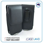 BLACK LEATHER BELT CLIP CASE POUCH COVER HOLSTER FOR HTC SAMSUNG IPHONE LG SONY