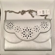 NWT. NINE WEST AILEY Silver/Black Clutch with Chain Shoulder Strap