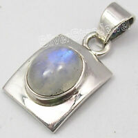 925 Solid Silver Natural Blue Oval 9 x 11 mm Rainbow Moonstone Pendant 4.5 Grams