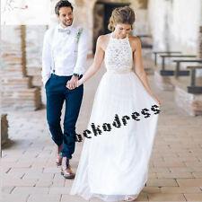 Romance Halter Appliques Bohemian Lace Wedding Dresses Custom Beach Size 4-6-8++