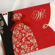 50 sets Festive Red Lovers Silk Tie Wedding Invitations Cards Gatefold Invites