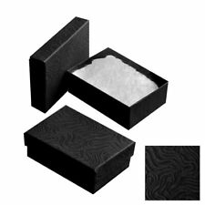 100 Swirl Black Cotton Filled Jewelry Packaging Gift Boxes Earrings Pendants