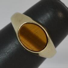 Hallmarked 9 Carat Yellow Gold & Tigers Eye Signet Ring P0553
