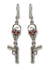 Skull with Red Crystal Eyes & Dangling Guns Silver Finish Dangle Earrings #977