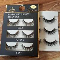 3 Pairs 100% Real 3D Mink Makeup Cross False Eyelashes Eye Lashes Handmade #MS