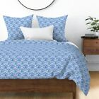 China Blue And White Ogee Canvas Painted Fish Sateen Duvet Cover by Spoonflower