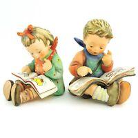 "Vintage Goebel Hummel Bookworm 8 Thoughtful 415 set of 2 TMK-6 4.5"" Tall reading"