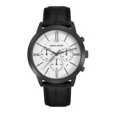 Pierre Cardin Elance Mens Chronograph Watch PC105891F12 White Face Black Strap