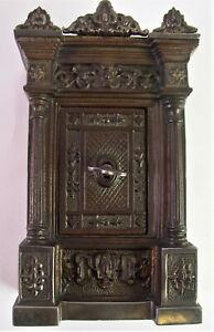 große alte SPARDOSE Money Box - Eisentresor / Historismus Säulenschrank - H17cm