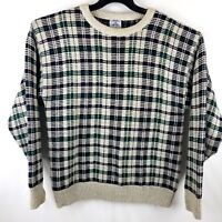Cambridge Classics Vintage Men Large Chunky Knitted Cosby Crewneck Plaid Sweater