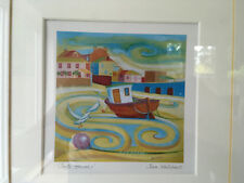 Beach scene print from artist Sara Holden in a lovely dark wood frame