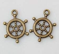 30pcs bronze plated Steering wheel pendants 20x15mm 1A1455