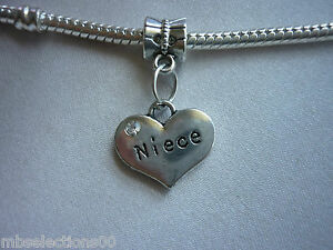 1 x Niece Family Heart Pendant Charm with rhinestones suit European Bracelet DIY