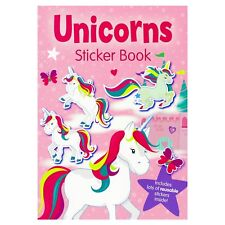 Unicorns A4 Sticker & Colouring Book Over 50 Reusable Stickers Kids Activities
