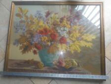 """Vintage needlepoint completed 34"""" inches X 26 1/2"""" inches framed with glass over"""