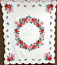 Beautiful! Vintage Floral APPLIQUE Quilt Red Pink