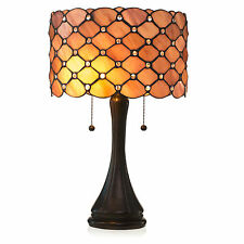 "Tiffany Style Rose Contemporary Table Lamp 2 Pull Lights 14"" Shade Handcrafted"