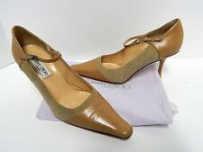 Jimmy Choo 39.5 9M Beige Leather Pointy Mary Jane Pumps Italy