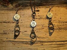 Antique Gold Bullet Necklace & Earrings w/ Handcuff Charms and Brass 38's (S620)