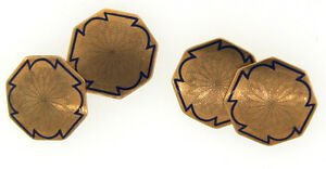 G'DAY MATE! Victorian 10k Yellow Gold and Blue Enamel Cufflinks, English, c.1900