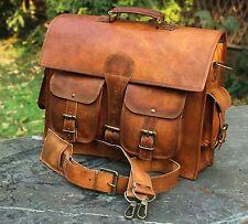 Genuine Vintage Leather Messenger Man Business Laptop Briefcase Satchel Bag
