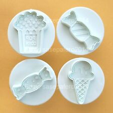 Party sweets Popcorn, ice cream and candies  plunger cookie cutters. 4 pcs. set