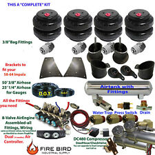 "Air Suspension Kit 3/8"" Manifold 4 Switch Pewter 1958-64 Chevy Impala 5 Gal xzx"