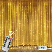 300 LED Curtain String Fairy Light Christmas Wedding Lighting Waterfall New