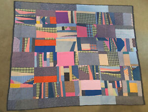 """Vintage Crazy Quilt, Pink And Blue, 70"""" x 60"""""""