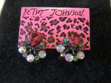 NWT BETSEY JOHNSON RED HEART, IRIDESCENT STONE & BOW EARRINGS