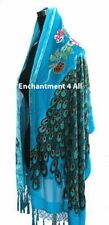 Stunning Beaded Silk Velvet Peacock Scarf Shawl, Turquoise