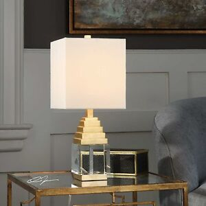 ANUBIS MODERN PYRAMID STYLE METALLIC GOLD LEAF TABLE LAMP THICK CRYSTAL CUBE