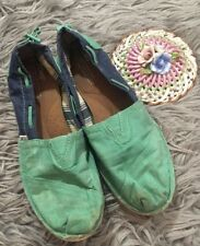 Women's TOMS Bimini Green Blue Flat Canvas Shoes 9