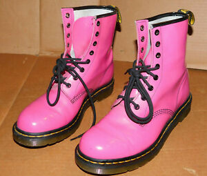 Dr Martens Pascal 1460w Pink Patent Leather Boots Size UK 8