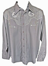 Roper Fancy Western Shirt Large Pearl Snap Rodeo Cowboy Silver Gray Embroidered