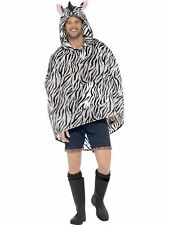 Para Hombre Zebra Print Ponchos Impermeable Partido chaqueta Fancy Dress divertido Festival Animal